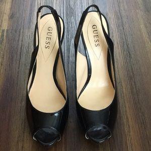 Guess black sling back patten leather high heels